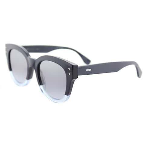 3acf1050e647 Fendi FF 0239 PJP Color Block Blue Crystal Light Blue Plastic Round  Sunglasses Blue Gradient Lens