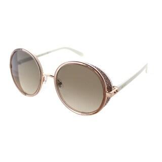 Jimmy Choo Andie N 1KH Gold Glitter Round Frame Brown Gradient Lens Sunglasses