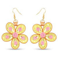 Liliana Bella Yellow and Orange Paper Quilling Handmade Dangle Earrings