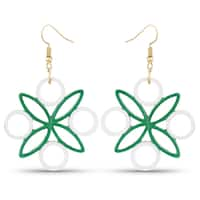 Liliana Bella White and Green Paper Quilling Handmade Dangle Earrings