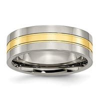 Titanium Yellow IP-plated Grooved 7mm Polished Band - Black