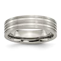 Titanium Grooved 6mm Brushed and Polished Band - Black