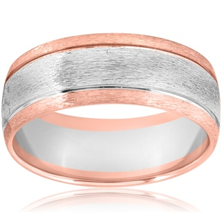 Link to 14k Rose & White Gold Two Tone Brushed Mens 8mm Comfort Fit Wedding Band Similar Items in Rings