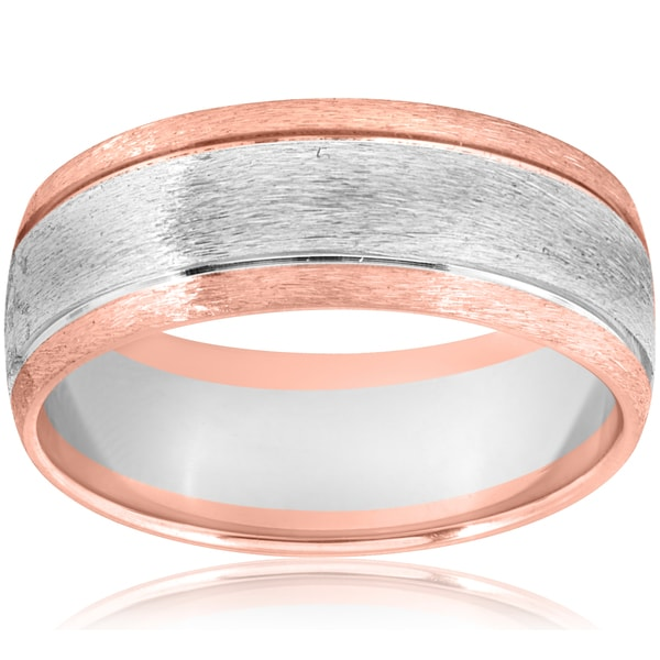 14k Rose & White Gold Two Tone Brushed Mens 8mm Comfort Fit Wedding Band. Opens flyout.