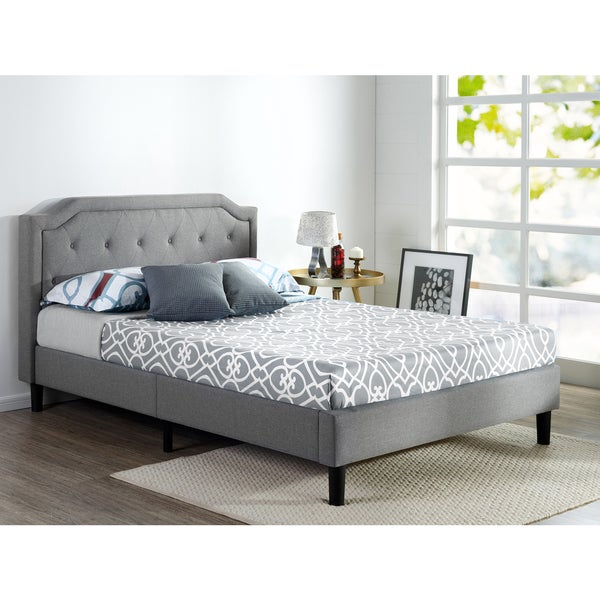 884621b024 Shop Priage by Zinus Scalloped Upholstered Platform Bed - Free ...