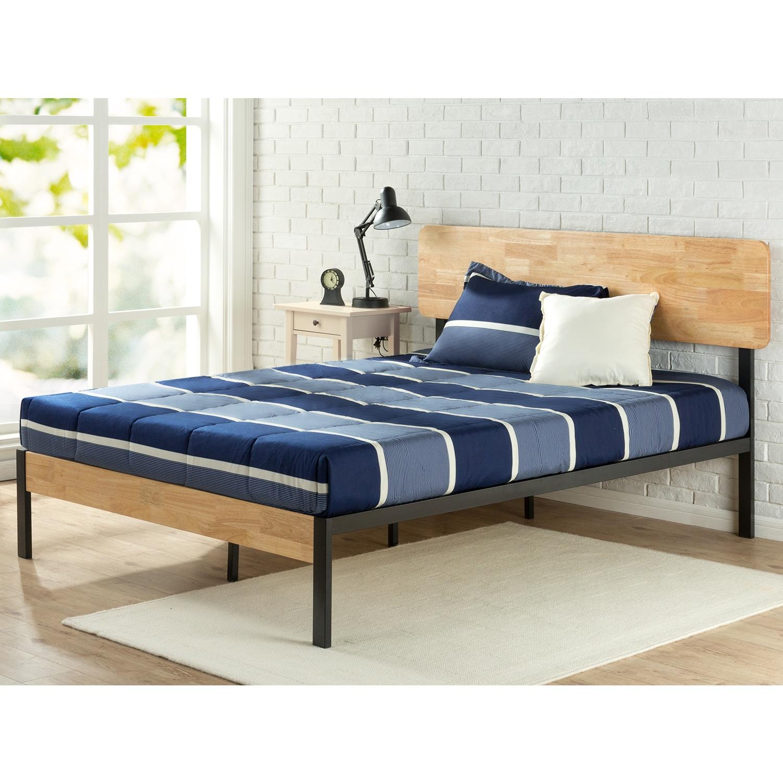 Priage Tuscan Metal and Wood Platform Bed (King), Black