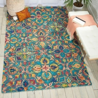 Hand Tufted Suzani Teal Floral Bloom Rug 5 3 X 7 5