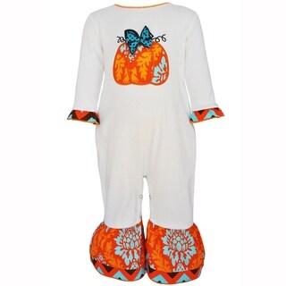 AnnLoren Baby Girls Autumn Pumpkin Thanksgiving Romper