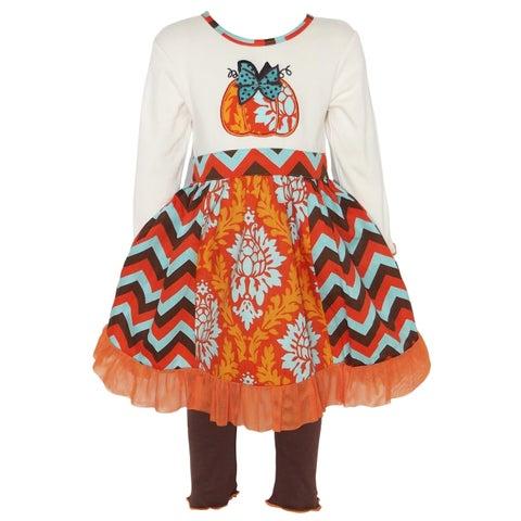 AnnLoren Girls Thanksgiving Pumpkin Damask & Chevron Dress Set
