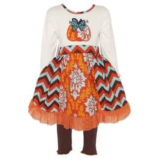AnnLoren Girls Thanksgiving Pumpkin Damask & Chevron Dress Set|https://ak1.ostkcdn.com/images/products/16680832/P23000388.jpg?impolicy=medium