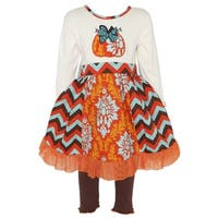 AnnLoren Girls Thanksgiving Pumpkin Damask & Chevron Dress Set