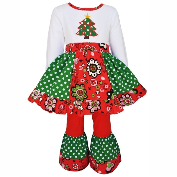 AnnLoren Girls Panel Christmas Tree Dress 2 pc Outfit