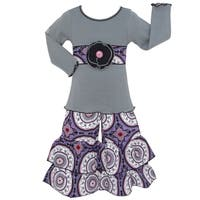 AnnLoren Girls Grey Tunic and Purple Medallion Pants