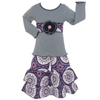 AnnLoren Girls Boutique Grey Tunic and Purple Medallion Pants