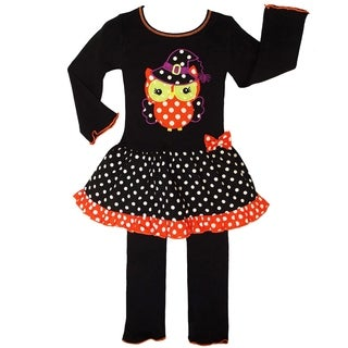 AnnLoren Girls Knit Halloween Witchy Owl Dress Clothing Set (Option: Orange/White/Brown - 12 - 18 Months)