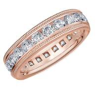 Amore 10K Rose Gold 2.0 CTTW Milgrain Eternity Diamond Wedding Band