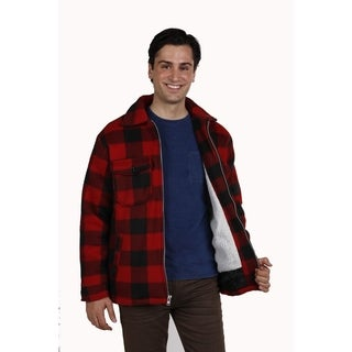 Maxxsel Men's sherpa lined buffalo plaid polar fleece zipper jacket.