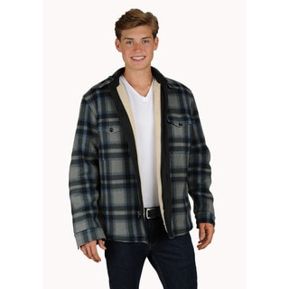 Men's sherpa lined plaid printed fleece shirt jacket with zipper & button front closure.
