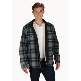Men's sherpa lined plaid printed fleece shirt jacket with zipper & button front closure. https://ak1.ostkcdn.com/images/products/16680850/P23000401.jpg?impolicy=medium