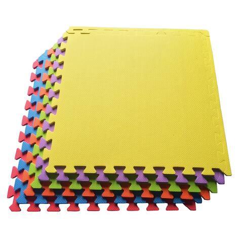 Multipurpose Interlocking EVA Foam Anti-Fatigue Gym Mat / Puzzle Mat Tiles, (24 Square Feet, 6 Tiles) - Yellow/Purple