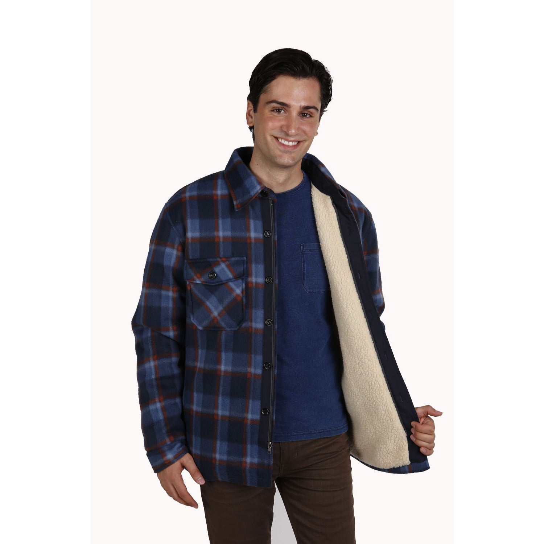 Big Men's Sherpa Lined Plaid Printed Fleece Shirt Jacket ...