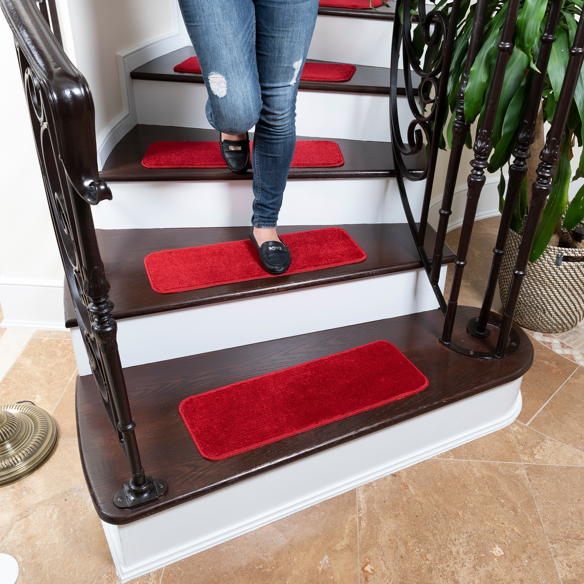 Skid resistant Ottomanson Softy Stair Tread Mats Solid Brown 7 Piece 9x26 Rubber Backing Non Slip Carpet