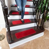 Ottomanson Comfort Collection Soft Solid Red Stair Treads - 2'2 x 9 (Pack of 7)
