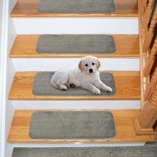 """Ottomanson Comfort Collection Soft Solid Grey Stair Treads (Pack of 14) - 9"""" x 26"""""""