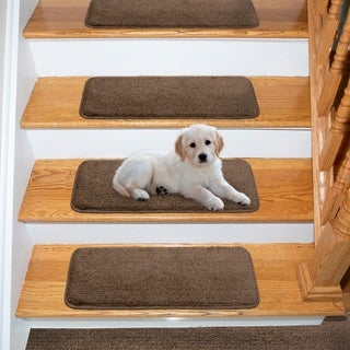 """Ottomanson Comfort Collection Soft Solid Brown Stair Treads (Pack of 7) - 9""""x26"""""""