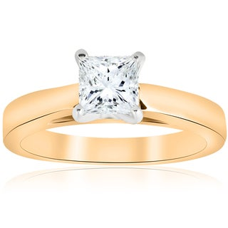 14k Yellow Gold 1ct TDW Princess Cut Solitaire Diamond Clarity Enhanced Engagement Ring Cathedral (H-I,I1-I2)