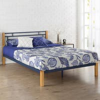 Priage by Zinus Blue Metal and Wood Platform Bed