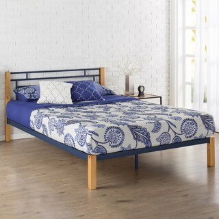 Priage Blue Metal and Wood Platform Bed
