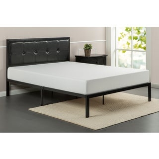 Priage Black Faux Leather Platform Bed