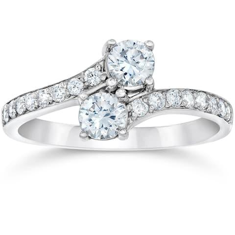 10k White Gold 1cttw TDW Two Stone Engagement Diamond Ring (I-J, I2-I3)