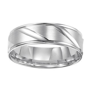 Cambridge Jewelry 14k White Gold 6-millimeter Engraved Band
