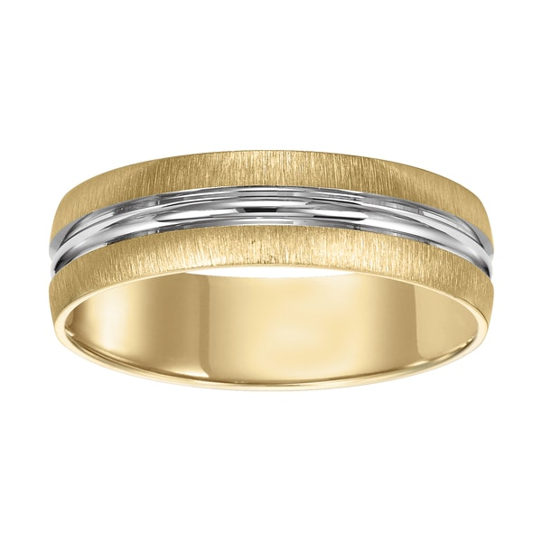 Cambridge 14kt White Yellow Gold Two Tone Menx27s Wedding Band