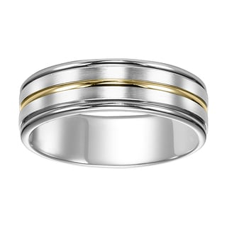 Cambridge Jewelry 7mm 14kt White Gold Two-Tone Wedding Band