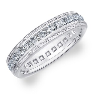 Amore 10K White Gold 1.0 CTTW Milgrain Eternity Diamond Wedding Band (Option: 12)