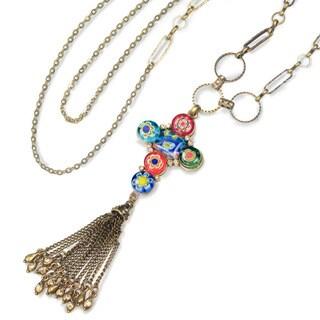 Sweet Romance Millefiori Glass Rainbow Cross Necklace