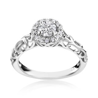 SummerRose 14k White Gold Vintage-Styled 1/2ct TDW Halo Engagement Ring