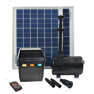 ASC 16 Watt Solar Power Water Pump Kit with Battery Timer Control + LED Lights + Remote Control