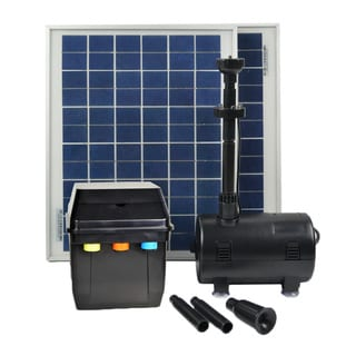 ASC 20W Solar Power Pool Pump Kit with Battery Timer Control and LED Lights