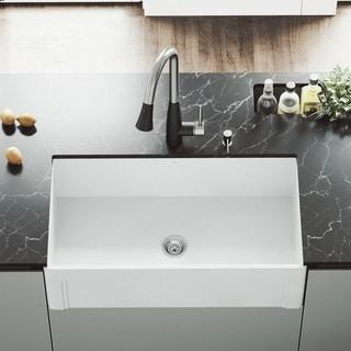 VIGO White 33-inch Casement Front Matte Stone Farmhouse Kitchen Sink