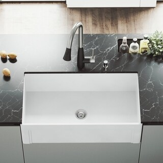 "VIGO 33"" Casement Front Matte Stone Farmhouse Kitchen Sink"
