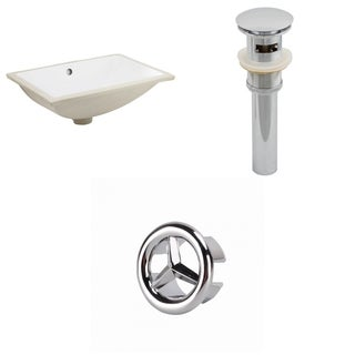 18.25-in. W CUPC Rectangle Undermount Sink Set In White - Chrome Hardware - Overflow Drain Incl.