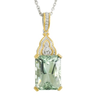 Michael Valitutti Palladium Silver Rectanglar Green Amethyst & White Zircon Pendant
