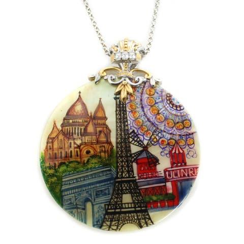 "Gems en Vogue Palladium Silver Hand-Painted Mother-of-Pearl & White Topaz ""Paris Landmarks"" Pendant"