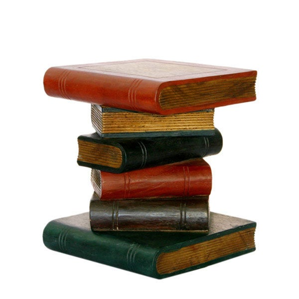 Charming Hand Carved Stacked Books Table