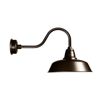 "14"" Goodyear LED Barn Light with Contemporary Arm in Mahogany Bronze"