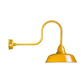 "14"" Goodyear LED Barn Light with Industrial Arm in Yellow"